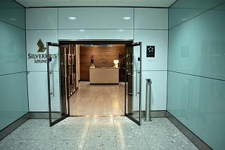 "The entrance to the business lounge ""SilverKris"" Singapore airlines in terminal 2 at London Heathrow airport"