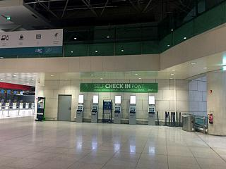 Self check-in kiosks in terminal 1 of Lisbon airport Portela