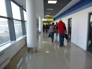Exit to the city at the airport of Vladivostok