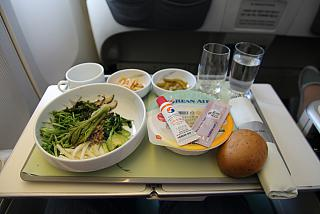 "Breakfast ""bibimbap"" in business class on Korean Air the flight Tokyo-Seoul"