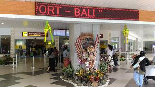 The entrance to the domestic terminal of Denpasar airport Ngurah Rai