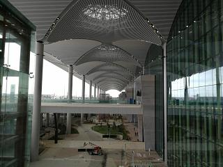 At the entrance to the passenger terminal of the new airport of Istanbul