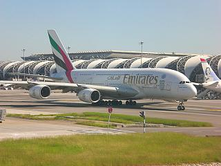 Airbus A380 of Emirates airlines at the airport Bangkok Suvarnabhumi