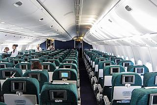The economy class cabin of a Boeing 777-200 Transaero