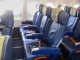Seats in the economy class of the old model in Airbus A321 Aeroflot