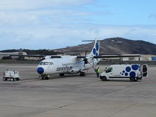 The plane ATR 72-500 of airlines Canaryfly in Gran Canaria airport