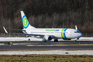 Boeing-737-800 reg. PH-HZN of Transavia Airlines before takeoff at Salzburg airport