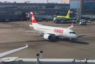 The Bombardier CS100 SWISS airlines at Domodedovo airport