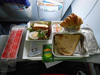 The catering meal on the Aeroflot flight from Moscow to Novosibirsk