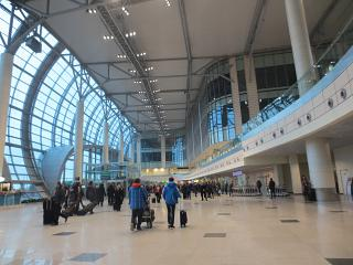 The international arrivals area at Domodedovo airport