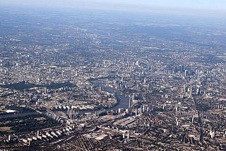 View of the London city at takeoff from Heathrow airport
