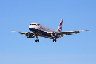 Airbus A320 of British Airways before landing at Salzburg Airport