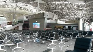 The waiting room in clean international departures Terminal A of Vnukovo airport