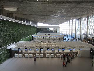 The check-in area for flights to Simferopol airport