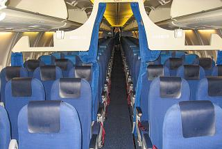 The passenger cabin of a Boeing 737-800 KLM