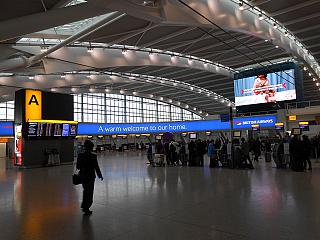 The check-in area in Terminal 5 of Heathrow airport