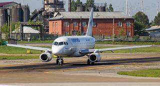 "Sukhoi Superjet-100 of the airline ""IrAero"" at the airport of Irkutsk"