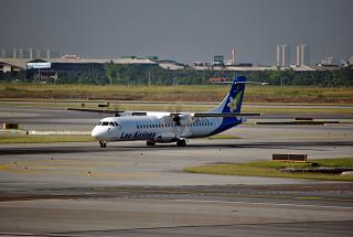 The plane ATR of 72 airlines Lao Airlines at the airport Bangkok Suvarnabhumi