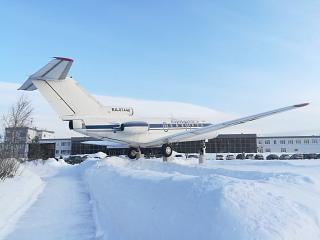 Plane-monument Yak-40 at Bratsk airport