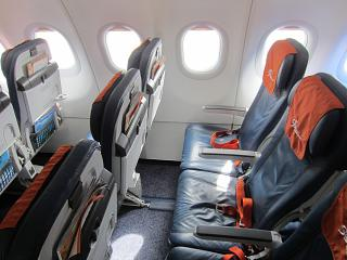 The passenger seats in the economy class in Airbus A320 of Aeroflot