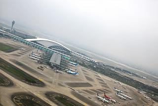 The view during takeoff at Guangzhou Baiyun international airport