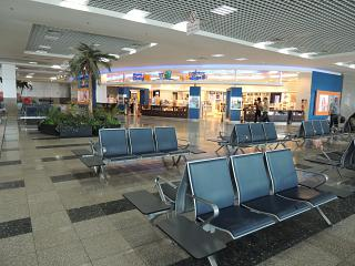 Waiting room and a duty-free shop in the clean zone of terminal 2 of the airport Hurghada