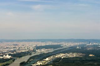 View of Vienna after taking off from the airport Schwechat