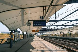Railway station platform at Leipzig Halle Airport