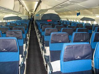 The passenger compartment of economy class in the Boeing-787-9 KLM