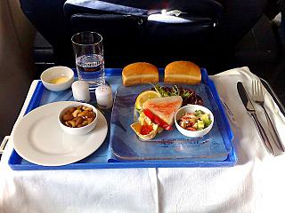 The meals in business class on Aeroflot flight Moscow-Rome