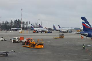 Aeroflot planes at apron of the airport Sheremetyevo