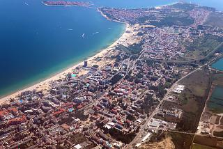 The resort of Sunny Beach on the black sea coast of Bulgaria