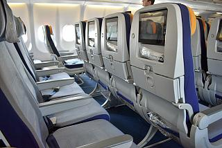 Seat economy class in Airbus A330-300 of Lufthansa