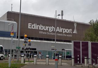 At the entrance to airport of Edinburgh