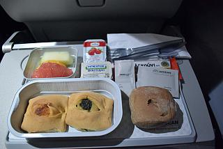 Breakfast on Aegean Airlines flight Moscow-Thessaloniki