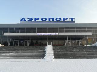 Entrance to the terminal of the airport Bratsk