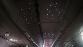 """Starry sky"" on the ceiling of the Airbus A340-500 of Emirates airlines"