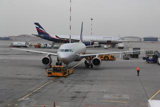 The Airbus A320 of Aeroflot at Sheremetyevo airport