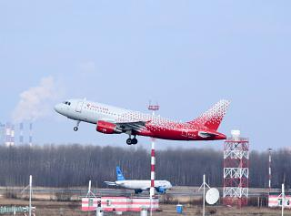 "Airbus A319 of the airline ""Russia"" takes off at St Petersburg Pulkovo airport"