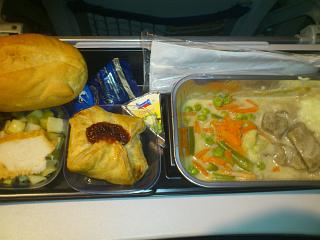 Food on the flight Moscow-Berlin Lufthansa
