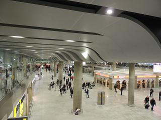 The arrivals area in the new passenger terminal of airport Saint Petersburg Pulkovo