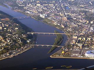 Река Ока в Нижнем Новгороде в месте слияния с Волгой