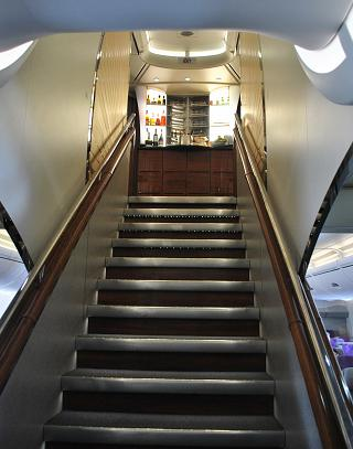 Bar on the upper deck of the Airbus A380 of Emirates