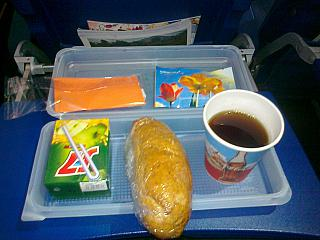 A meal on the Aeroflot flight Moscow-Samara