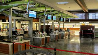The reception area of the Japanese airlines at Honolulu international airport