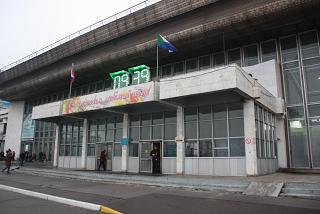 The entrance to the terminal of the airport Khabarovsk Novy