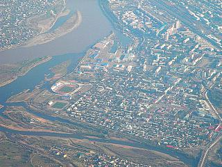 The city of Ulan-Ude and the Selenga river