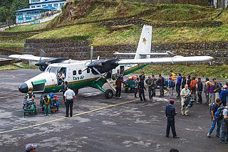 Service aircraft DHC-6 Twin Otter airline Tara Air in Lukla airport