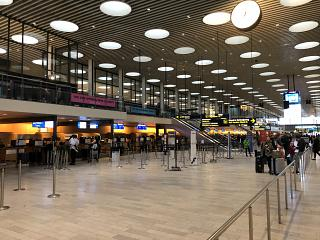 The check-in area in terminal 2 of Copenhagen airport Kastrup