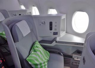 Passenger seat, business class in the Airbus A350-900 aircraft Finnair